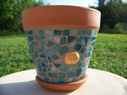 accessories cool sunflower mosaic plant pot for garden and table