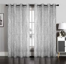 Linen Curtains With Grommets Vivian Grey Floral Semi Sheer Wide Width Grommet Window Curtain