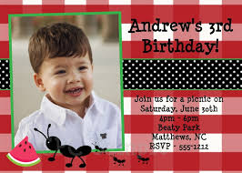 personalized ants on a picnic themed birthday invitation for kids