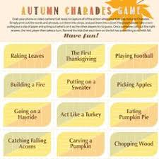 autumn charades printable thanksgiving charades