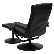 Black Chair With Ottoman Black Faux Leather Recliner Chair With Swivel Seat And Ottoman