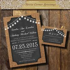 Rustic Invitations Burlap Wedding Invitation Bell String Lights Chalkboard Rustic