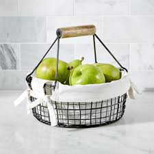 Fruit Basket Gifts Wire Fruit Basket With Handle Crate And Barrel