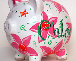 customized piggy bank baby girl piggy bank etsy