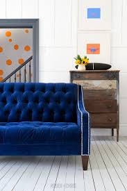 Velvet Tufted Loveseat Lincoln Tufted Loveseat In Cannes Lapis Blue Velvet With Nail Head