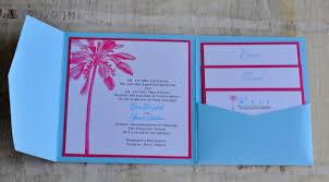 light blue wedding invitations pocket fold wedding invitation design fee light blue and pink palm
