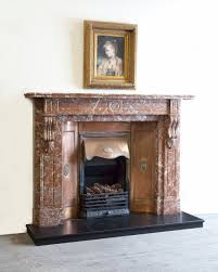 victorian breche marble fireplace surround with copper insert