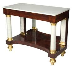 antique modern small console table with white marble top and brown