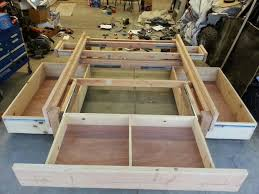 platform bed with lots of storage http m instructables com id