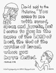 coloring pages for kids by mr adron david and goliath coloring