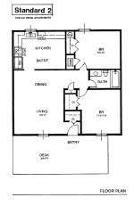 2 bedroom flat floor plan apartment rental layout spacious living oversized closets patio gray