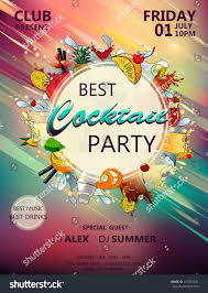 best cocktail party poster cocktail ingredients stock vector