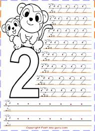 numbers tracing worksheets 2 for kindergarten printable coloring