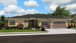 open floor plan ranch style homes front rendering house plans pinterest flat roof house flat