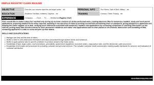 registry clerk cover letter u0026 resume