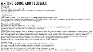 writing guide and feedback formatting 1 u201d margins times new roman