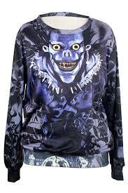 womens crew neck jumper cartoon death note ryuk printed sweatshirt