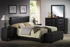 black faux leather queen size bed set bedroom headboard footboard