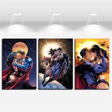 superman kiss wonder woman home decor hd printed modern art