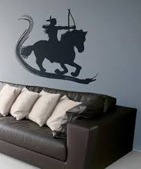 wall decals of people silhouette wall decals stickerbrand vinyl wall decal sticker native american on horse with brush stroke os dc138