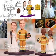 fireman wedding cake toppers hold shotgun and firefighter wedding cake toppers