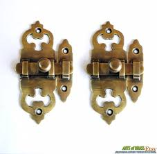 Cabinet Door Lock Hardware lot of 2 pcs victoria latch box slot antique vintage brass