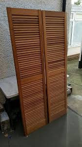 Cabinet Door Vents Pair Of Pine Louvre Doors Vented Open Slatted 1829 X 457mm