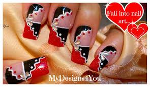 red and black abstract nail art nail art for long nails