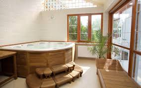 vintage wooden japanese bathroom style with wooden cover soaking