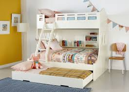 Bunk Bed With Trundle White Wooden Bunk Bed With Assorted Color Bed Sheet Plus Sliding