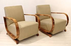 Club Armchairs Pair Of 1930s Art Deco Club Armchairs In Walnut And Pierre Frey