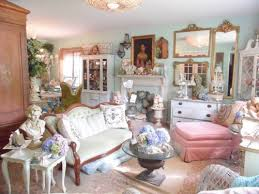 shabby chic style living room with statue and vases and indoor