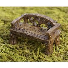 fiddlehead miniature rustic bench fairy garden ornament