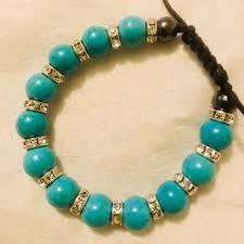 turquoise bracelet images Jewelry turquoise bracelet with crystals adjustable poshmark jpg