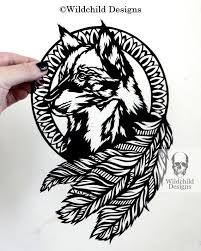 wolf dreamcatcher paper cutting template for personal or