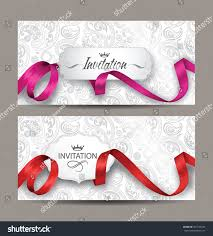 Invitation Cards Design With Ribbons Beautiful Invitation Cards Red Pink Silk Stock Vector 381183535