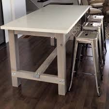 diy harvest table kitchen island with white quartz counter cut