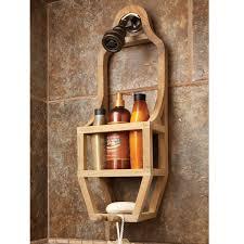 Teak Bathroom Furniture Teak Slim Shower Organizer From Sportys Preferred Living