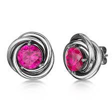 titanium stud earrings titanium and pink sapphire stud earrings titanium earrings at