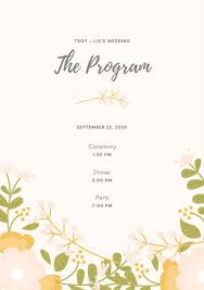 template for wedding program customize 48 wedding program templates online canva