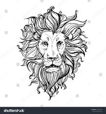 hand drawn vector illustration doodle lion stock vector 490147537