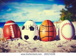 sports easter eggs sport eggs on stock photo 265174538