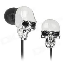 skull style in ear earphone silver black 3 5mm 120cm