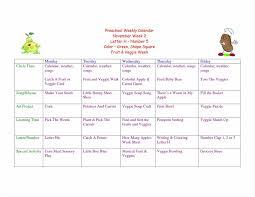 schedule template weekly elementary preschool lesson plan template