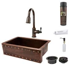Hammered Copper Apron Front Sink by Premier Copper Products All In One Undermount Copper 33 In 0 Hole