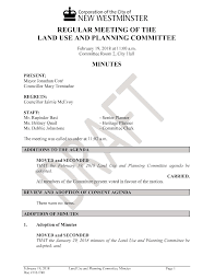 REGULAR MEETING OF THE LAND USE AND PLANNING MITTEE