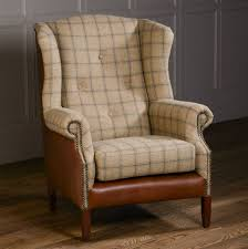 Tweed Armchair Leather Buttoned Wing Chair Leather Or Tweed By The Orchard