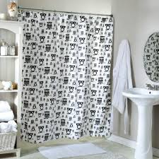 black and white owl designer shower curtains with light grey wall