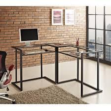 computer desk glass metal black metal glass corner computer desk furniture office vintage top