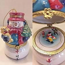 Mr Christmas Ornament - mr christmas music box porcelain musical snowman carousel wind up